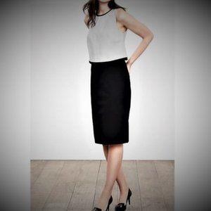 BR sloan black layered dress, leather trim, sz 8
